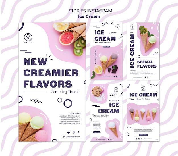 Modèle d'histoires de crème glacée instagram