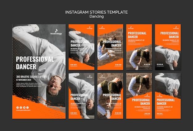 Modèle d'histoires de danseur professionnel instagram