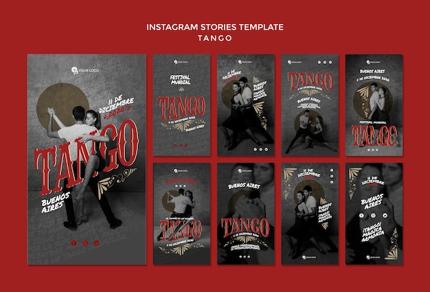 Modèle d'histoires de danseurs de tango instagram