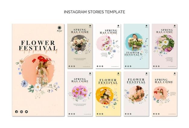 Modèle d'histoires de festival de fleurs instagram