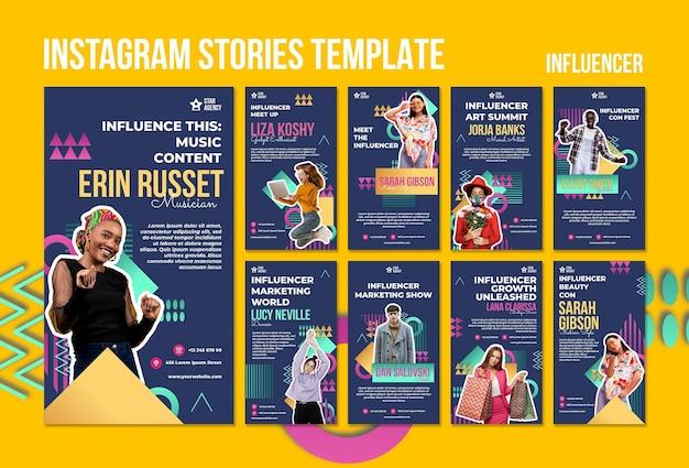 Modèle d'histoires d'influenceur instagram avec photo