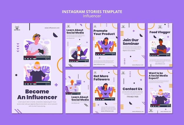 Modèle d'histoires d'influenceur instagram