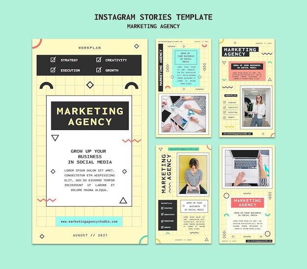 Modèle d'histoires insta d'agence de marketing sur les réseaux sociaux