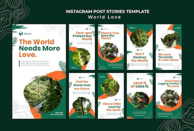 Modèle d'histoires insta d'amour du monde