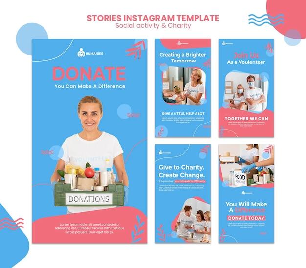 Modèle d'histoires instagram d'activité sociale et de charité
