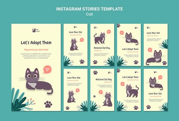 Modèle d'histoires instagram d'adoption de chat