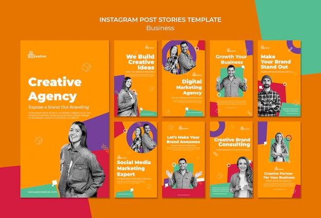 Modèle d'histoires instagram d'agence créative