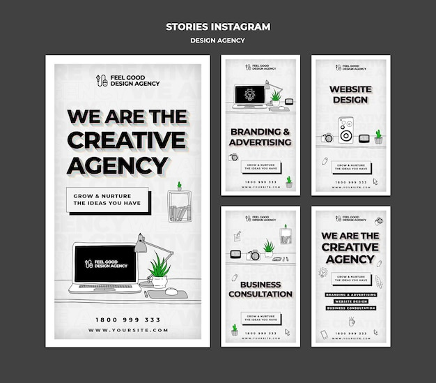 Modèle d'histoires instagram d'agence de design