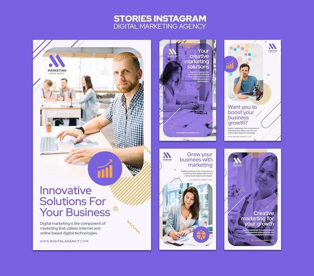 Modèle d'histoires instagram d'agence de marketing numérique