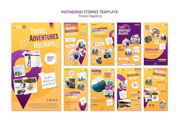 Modèle d'histoires instagram d'agence de voyage