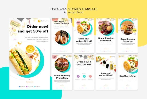Modèle d'histoires instagram alimentaire