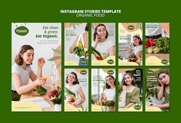 Modèle d'histoires instagram d'aliments biologiques