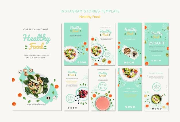 Modèle d'histoires instagram d'aliments sains