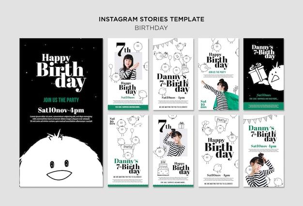 Modèle d'histoires instagram d'anniversaire