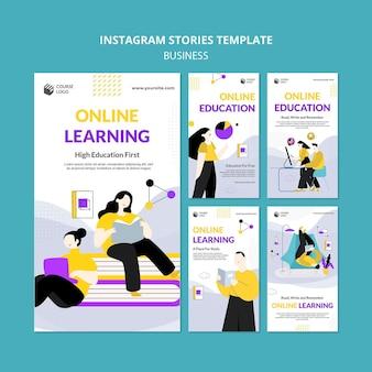 Modèle d'histoires instagram d'apprentissage en ligne illustré