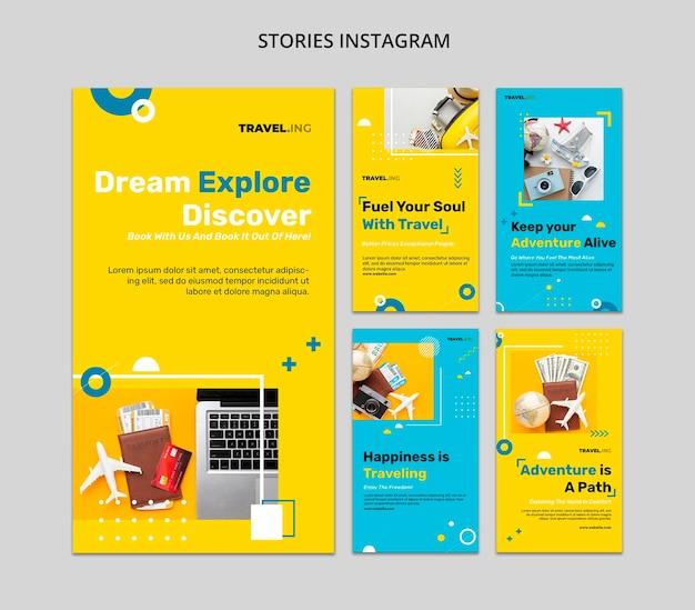Modèle d'histoires instagram d'aventure de voyage