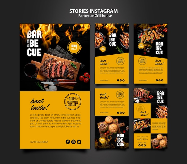 Modèle d'histoires instagram avec barbecue