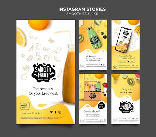 Modèle d'histoires instagram de barre de smoothie