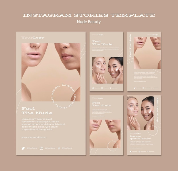 Modèle d'histoires instagram de beauté nue
