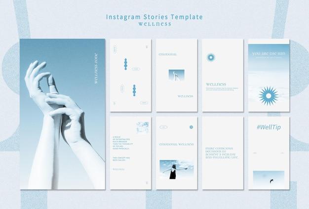 Modèle d'histoires instagram de bien-être avec photo