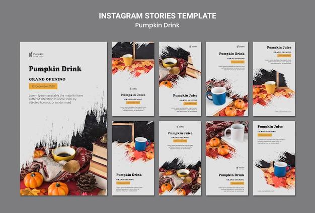 Modèle d'histoires instagram de boisson à la citrouille