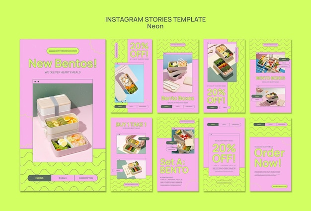 Modèle d'histoires instagram de boîte à bento néon
