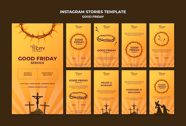 Modèle d'histoires instagram de bon vendredi