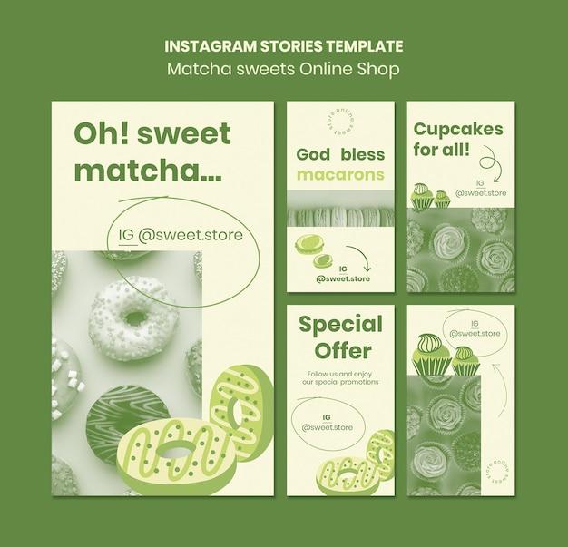 Modèle d'histoires instagram de bonbons au matcha