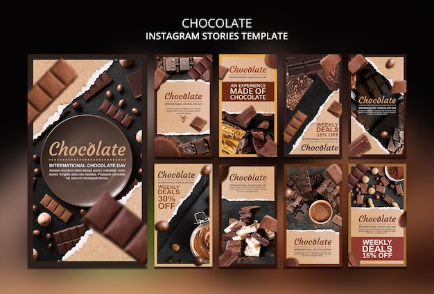 Modèle d'histoires instagram de boutique de chocolat