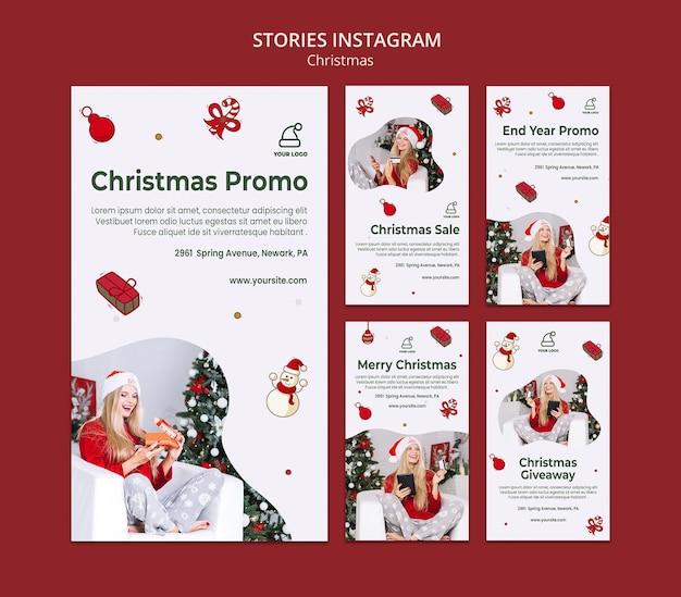 Modèle d'histoires instagram de cadeaux de noël
