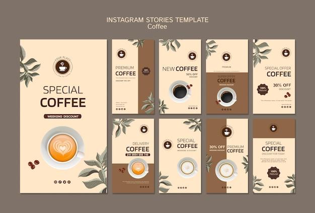 Modèle d'histoires instagram avec café