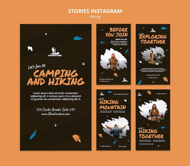 Modèle d'histoires instagram de camping et de randonnée