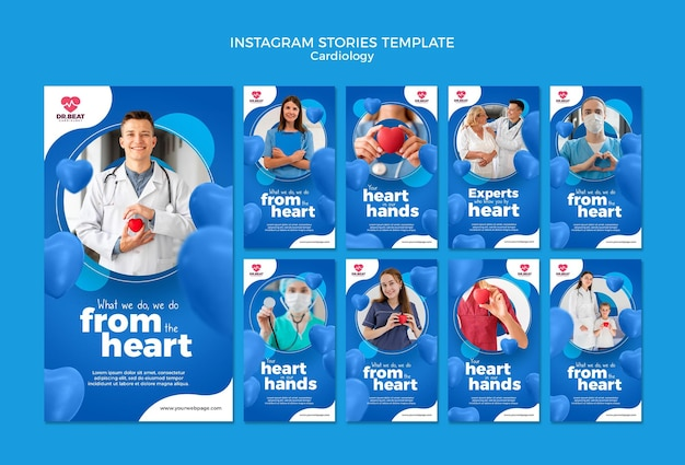 Modèle d'histoires instagram de cardiologie