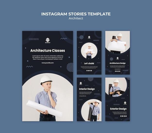 Modèle d'histoires instagram de carrière d'architecte