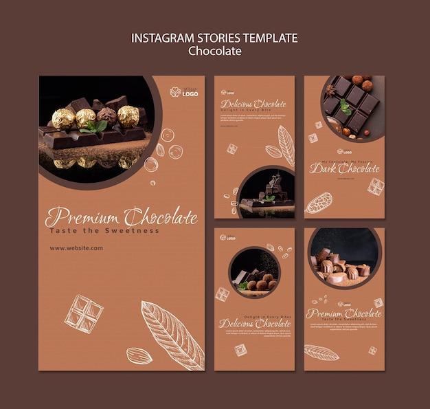 Modèle d'histoires instagram de chocolat premium