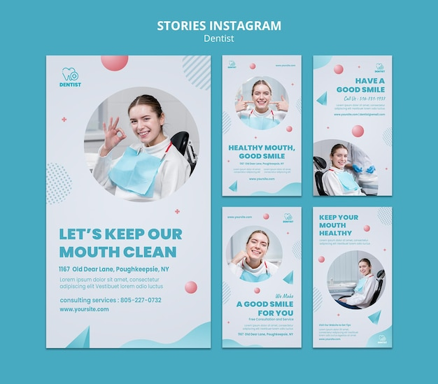 Modèle d'histoires instagram de clinique de dentiste