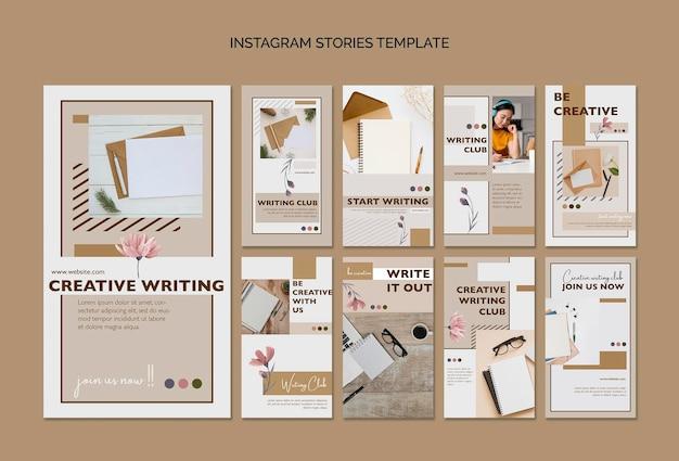 Modèle d'histoires instagram de club d'écriture