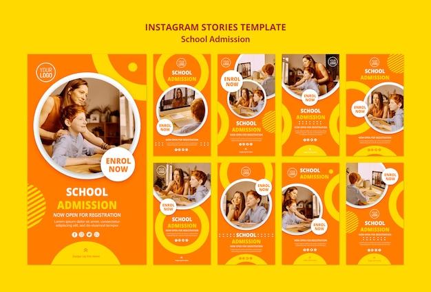 Modèle d'histoires instagram de concept d'admission scolaire
