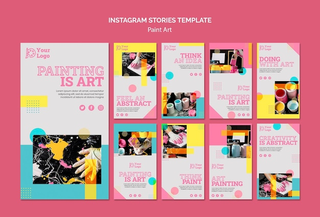 Modèle d'histoires instagram de concept d'art de peinture