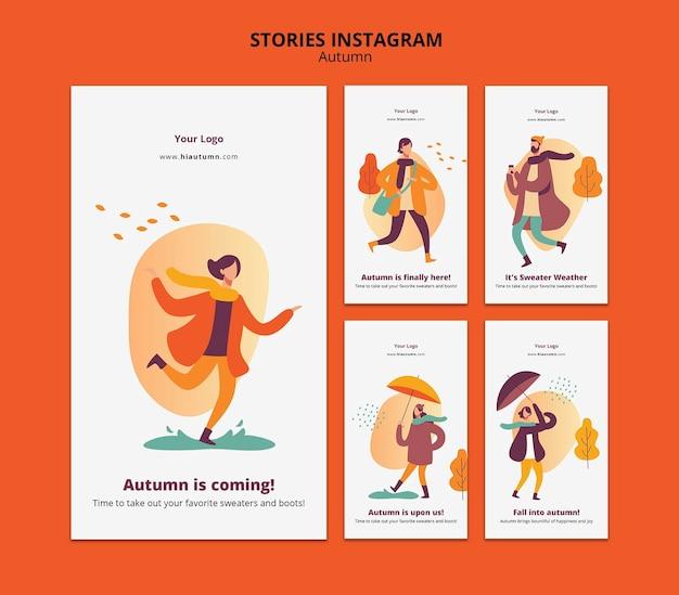Modèle d'histoires instagram concept automne