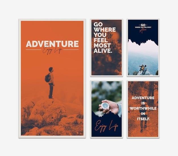 Modèle d'histoires instagram avec concept d'aventure