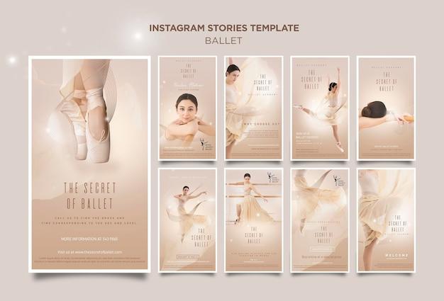 Modèle d'histoires instagram de concept de ballerine