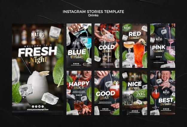 Modèle d'histoires instagram de concept de boissons