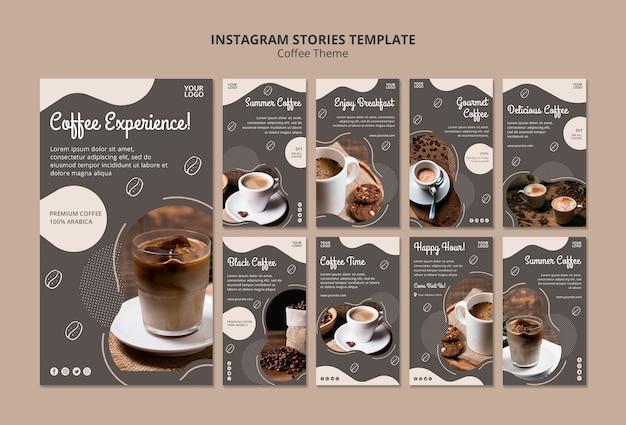 Modèle d'histoires instagram concept café