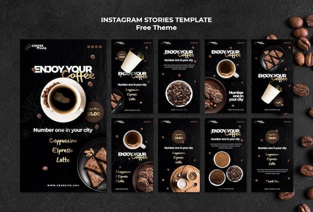 Modèle d'histoires instagram de concept de café