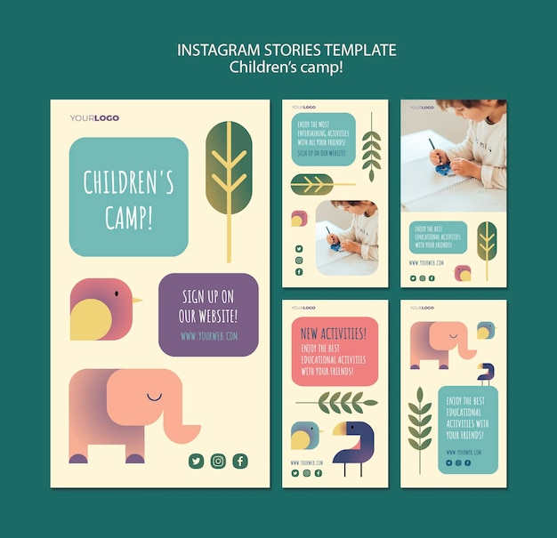 Modèle d'histoires instagram de concept de camp pour enfants