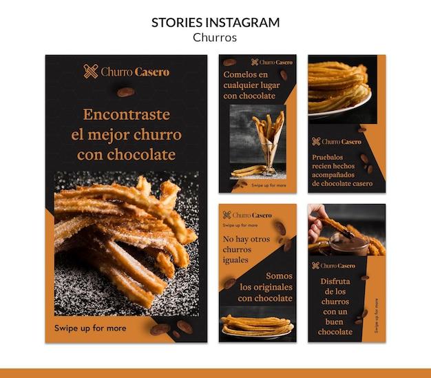 Modèle d'histoires instagram de concept de churros