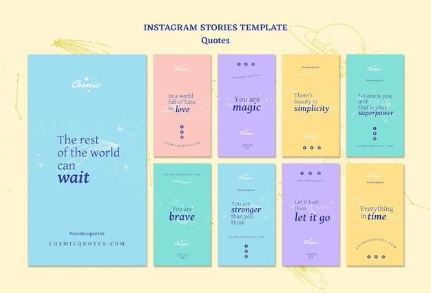 Modèle d'histoires instagram de concept de citations
