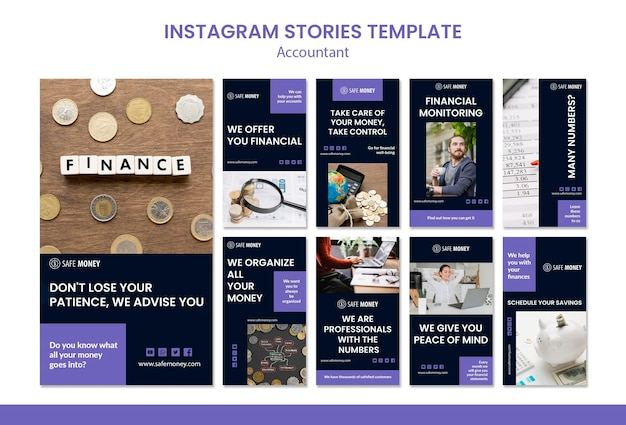 Modèle d'histoires instagram de concept comptable