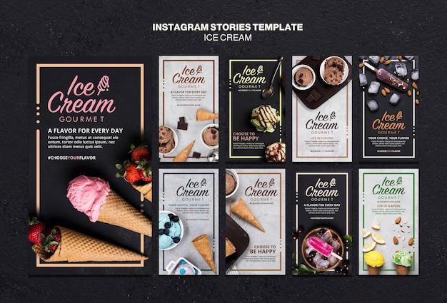 Modèle d'histoires instagram de concept de crème glacée